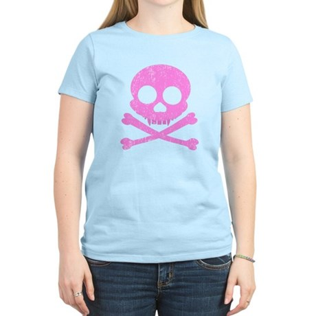Distressed Pink Skull Women's Light T-Shirt