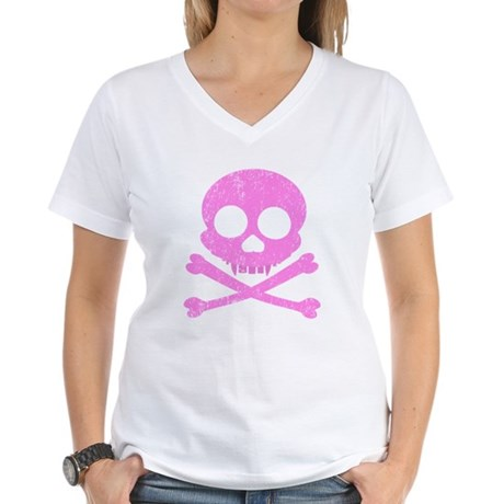 Distressed Pink Skull Women's V-Neck T-Shirt