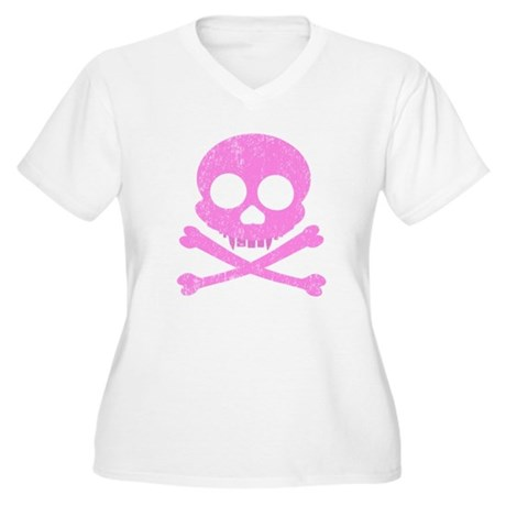Distressed Pink Skull Women's Plus Size V-Neck T-S