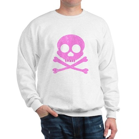 Distressed Pink Skull Sweatshirt