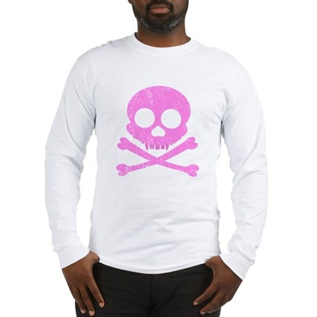 Distressed Pink Skull Long Sleeve T-Shirt