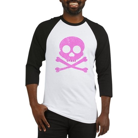 Distressed Pink Skull Baseball Jersey