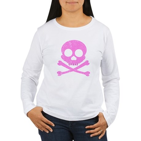 Distressed Pink Skull Women's Long Sleeve T-Shirt