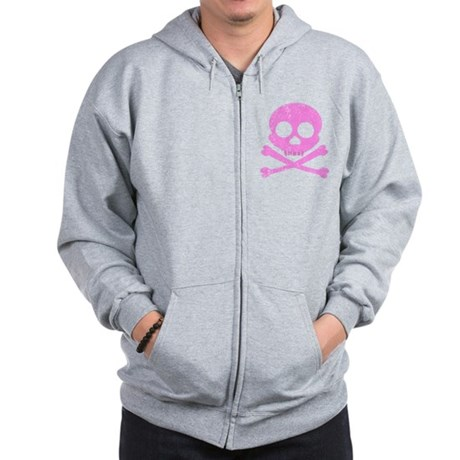 Distressed Pink Skull Zip Hoodie