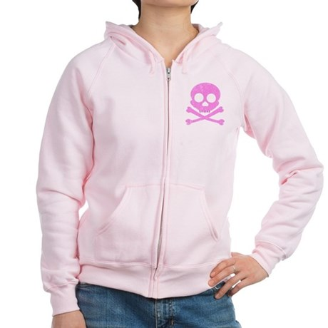 Distressed Pink Skull Women's Zip Hoodie