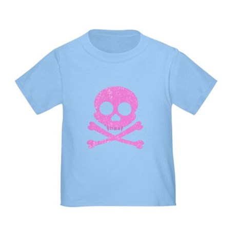 Distressed Pink Skull Toddler T-Shirt