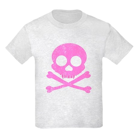 Distressed Pink Skull Kids Light T-Shirt