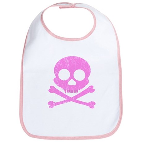 Distressed Pink Skull Bib