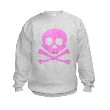 Distressed Pink Skull Kids Sweatshirt