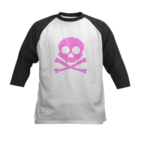 Distressed Pink Skull Kids Baseball Jersey