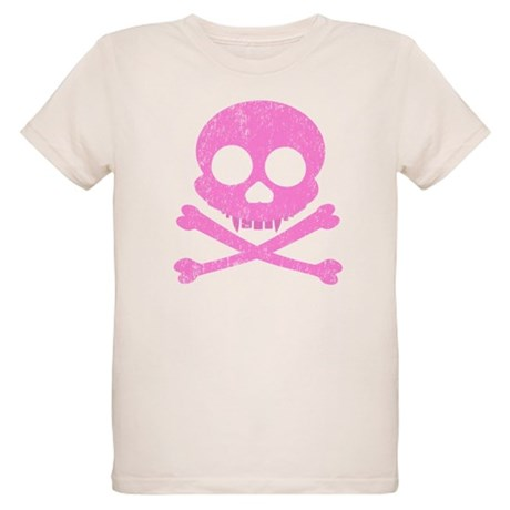 Distressed Pink Skull Organic Kids T-Shirt