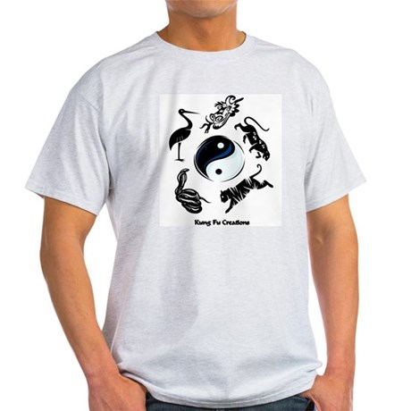 5 animal Kung Fu logo Ash Grey T-Shirt