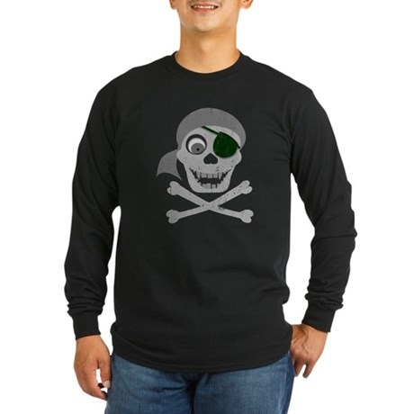 Pirate Skull & Crossbones Long Sleeve Dark T-Shirt