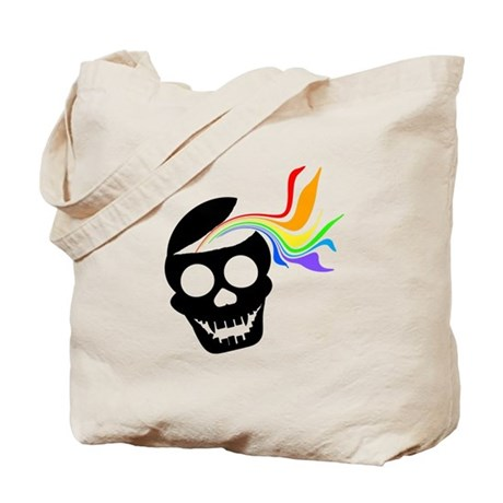 Rainbow Black Skull Tote Bag