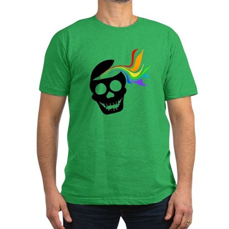 Rainbow Black Skull Men's Fitted T-Shirt (dark)