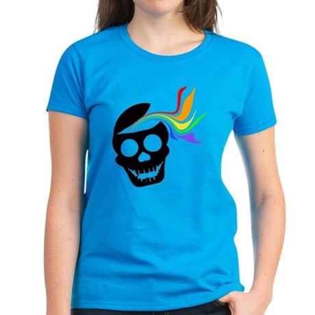Rainbow Black Skull Women's Dark T-Shirt
