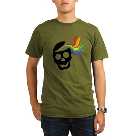 Rainbow Black Skull Organic Men's T-Shirt (dark)
