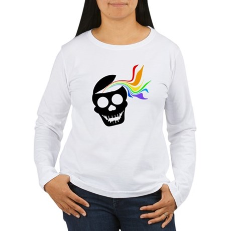 Rainbow Black Skull Women's Long Sleeve T-Shirt