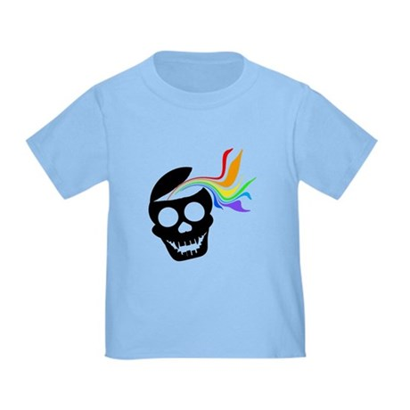 Rainbow Black Skull Toddler T-Shirt