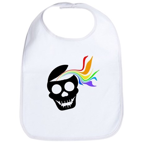 Rainbow Black Skull Bib