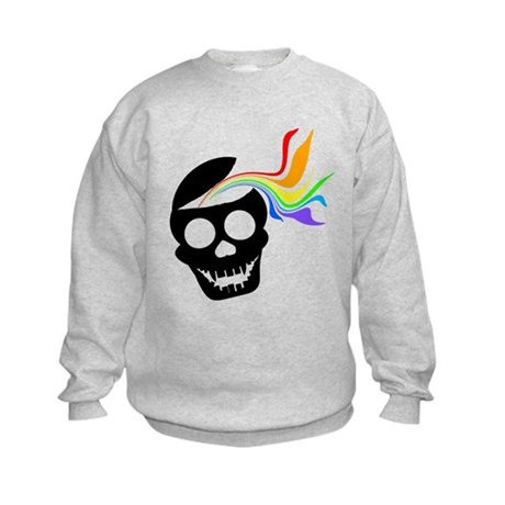 Rainbow Black Skull Kids Sweatshirt