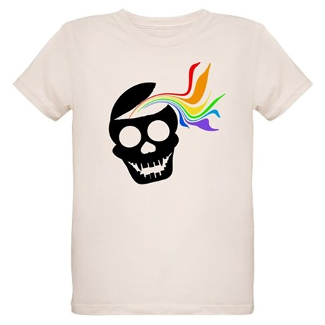 Rainbow Black Skull Organic Kids T-Shirt