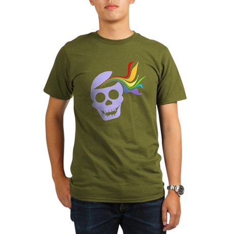 Rainbow Lavender Skull Organic Men's T-Shirt (dark