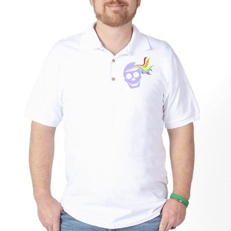 Rainbow Lavender Skull Golf Shirt