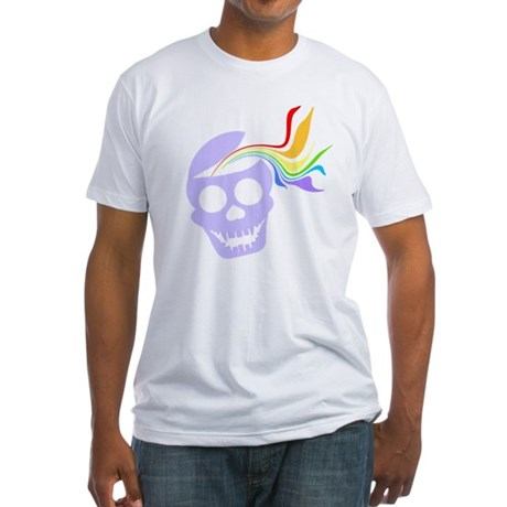 Rainbow Lavender Skull Fitted T-Shirt