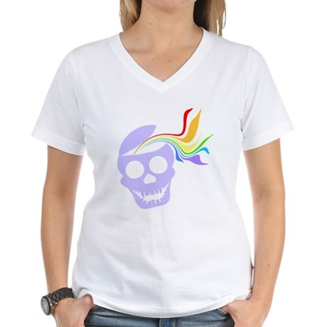 Rainbow Lavender Skull Women's V-Neck T-Shirt