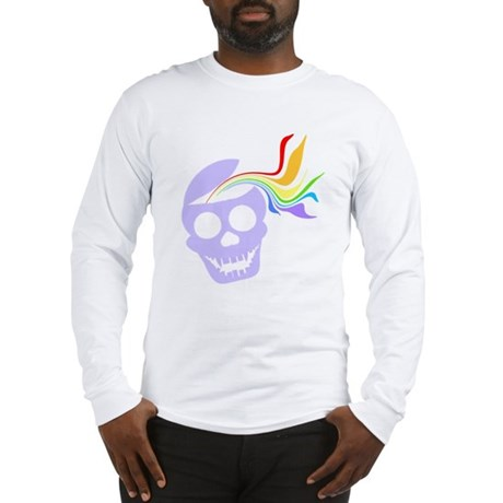 Rainbow Lavender Skull Long Sleeve T-Shirt