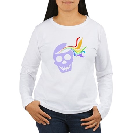 Rainbow Lavender Skull Women's Long Sleeve T-Shirt