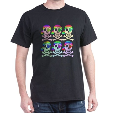 Rainbow Pirate Skulls Dark T-Shirt