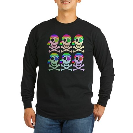 Rainbow Pirate Skulls Long Sleeve Dark T-Shirt
