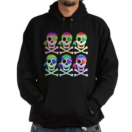 Rainbow Pirate Skulls Hoodie (dark)