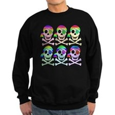 Rainbow Pirate Skulls Sweatshirt (dark)