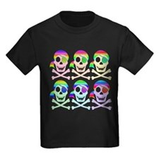 Rainbow Pirate Skulls Kids Dark T-Shirt