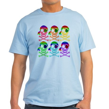 Rainbow Pirate Skulls Light T-Shirt