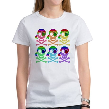 Rainbow Pirate Skulls Women's T-Shirt