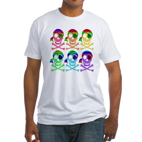 Rainbow Pirate Skulls Fitted T-Shirt