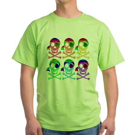 Rainbow Pirate Skulls Green T-Shirt