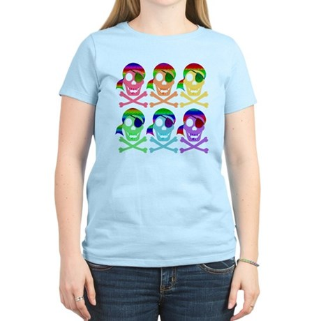 Rainbow Pirate Skulls Women's Light T-Shirt