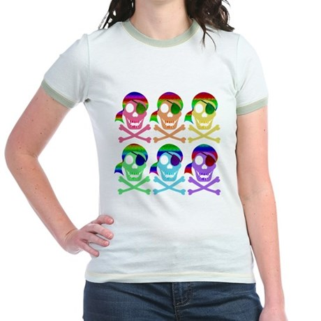 Rainbow Pirate Skulls Jr. Ringer T-Shirt