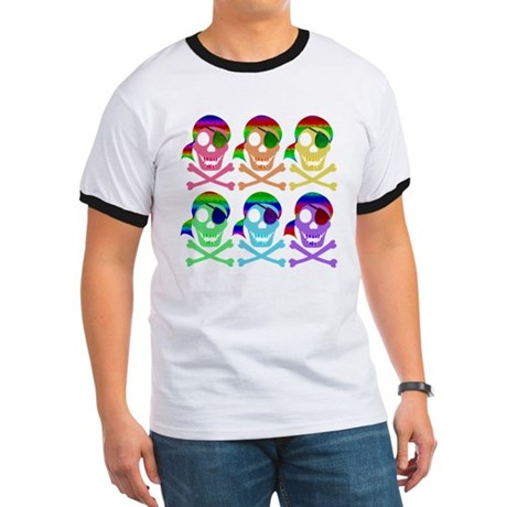 Rainbow Pirate Skulls Ringer T