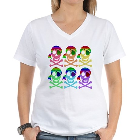Rainbow Pirate Skulls Women's V-Neck T-Shirt