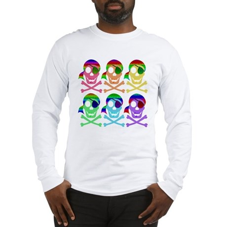 Rainbow Pirate Skulls Long Sleeve T-Shirt