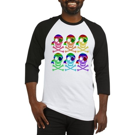 Rainbow Pirate Skulls Baseball Jersey