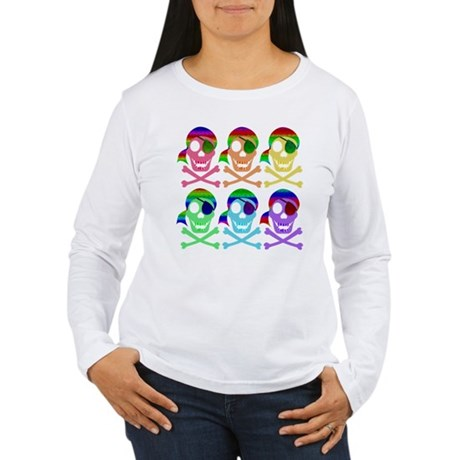 Rainbow Pirate Skulls Women's Long Sleeve T-Shirt