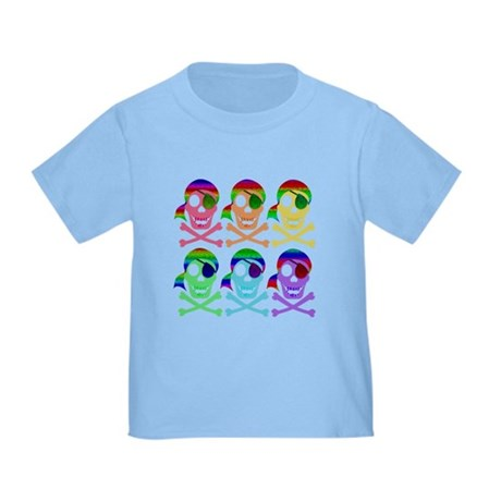 Rainbow Pirate Skulls Toddler T-Shirt