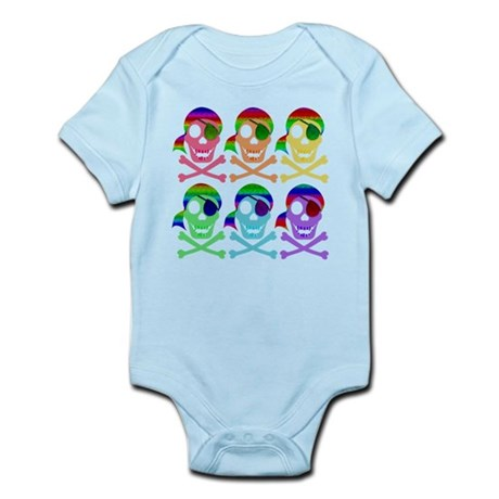 Rainbow Pirate Skulls Infant Bodysuit